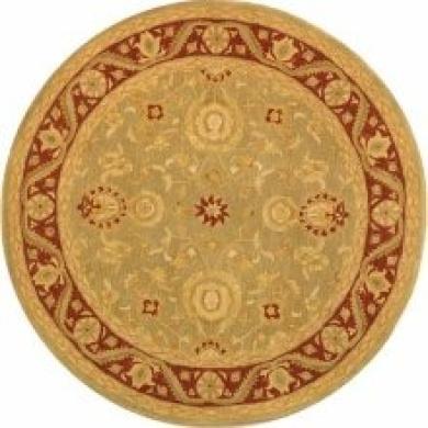 Safavieh Kashan Hand-Spun Wool Green/ Red Rug (4' Round)