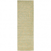 Safavieh Soho Trinity Wool Runner Rug, Soft Light Blue/Ivory