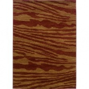 Acadiah Red/ Gold Abstract Rug (5'3 x 7'5)