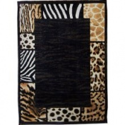 DonnieAnn Company Skinz 73 Mixed Animal skin Prints Patchwork Border Design Rug