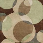 Horizon Home Hand-tufted Metro Circles Brown Wool Rug (6' Square)