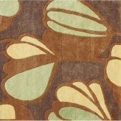 Horizon Rugs Hand-tufted New Zealand Wool Blend Brown Floral Area Rug (6' x 6')