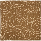 Handmade Soho Roses Brown New Zealand Wool Rug