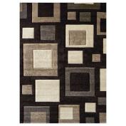 DonnieAnn Company Studio 601 Chocolate Geometric Design Rug Rug Size