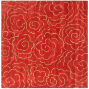 Handmade Soho Roses Red New Zealand Wool Rug