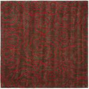 Handmade Soho Roses Chocolate New Zealand Wool Rug