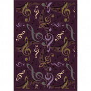 Joy Carpets 1573C-04 Virtuoso Plum 5 ft.4 in. x 7 ft.8 in. 100 Pct. STAINMASTER Nylon Machine Tufted- Cut Pile Whimsy Rug
