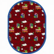 Joy Carpets 1419CC-03 Bookworm Red 5 ft.4 in. x 7 ft.8 in. Oval 100 Pct. STAINMASTER Nylon Machine Tufted- Cut Pile Just for Kids Rug