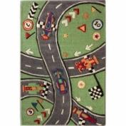 nuLOOM KinderLOOM Race Track Green Kids Rug Size