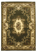 KAS Corinthian 5312 Aubusson 7'18cm x 7'18cm Green / Ivory Round Area Rug