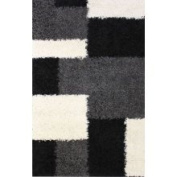 Shag Plush Area Rug Geometric Black 6'7 x 9'10