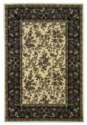 KAS Oriental Rugs Cambridge Ivory/Black Floral Ribbons Rug Rug Size