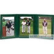 Presidential Triple 5x7 Green Leatherette Stock Photo Frame wgold Foil Border