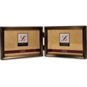 Lawrence Frames 11464D Lawrence Frames Antique Brass 4x6 Hinged Double Horizontal Picture Frame - Bead Border Design