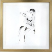 Lazy Susan 561002 Charcoal and Ink Nude w/ Gold Leaf Frame - 5x7