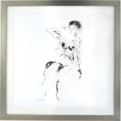 Lazy Susan 561001 Charcoal and Ink Nude w/ Silver Leaf Frame - 4x6