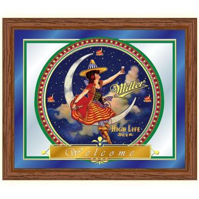 Trademark Miller High Life Girl in the Moon Mirror - 41cm x 48cm