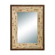 Benzara 56081 Glass Style Mirror with Rustic Wood Frame