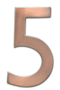 Architectural Mailboxes 3582AC Number 5 Solid Cast Brass 4 inch Floating House Number Antique Copper 5