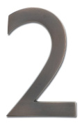 Architectural Mailboxes 3582DC Number 2 Solid Cast Brass 4 inch Floating House Number Dark Aged Copper 2