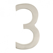 Architectural Mailboxes 3582SN-3 Solid Cast Brass 4 inch Floating House Number Satin Nickel 3
