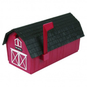 Red & Black Barn Style Plastic mailboxes in Durable Copolymer