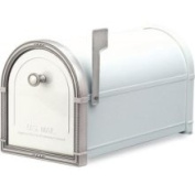 Architectural Mailboxes 5504W Coronado Mailbox with Antique Nickel Accents - White