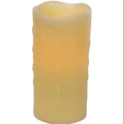 "Pack of 6 Battery Operated Flameless LED ""Wax Dripping"" Pillar Candles 15cm"