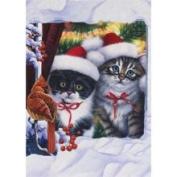 Christmas Kitty Cat Flag - Garden