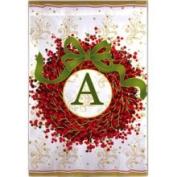 Holiday Wreath Garden Flag with A Monogram