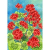 Custom Decor Beautiful Spring Summer Scarlet Geraniums Garden Flag