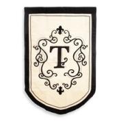 Monogrammed Fleur Estate Outdoor Flag - T