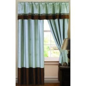 Lush Decor Brown and Teal 213cm Faux-Silk Kyoto Window Curtain Panel