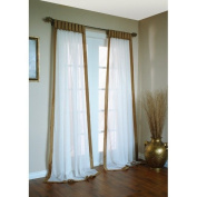 Commonwealth Home Fashions Sanderson A Linen Like Body with Faux Silk Banded Border Panel in Cocoa Size