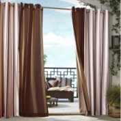 Commonwealth Home Fashions Outdoor Décor Gazebo Outdoor Stripe Grommet Top Curtain Panel in Khaki Size