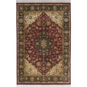 Hand-knotted Finial Burgundy Red Wool Rug