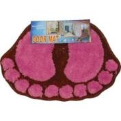 Store51 Hot Pink Foot Prints Door Mat - Red Decor Accent Rug
