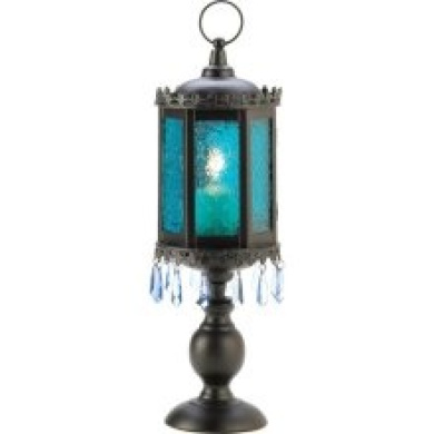 Gifts & Decor Gifts Decor Home Decor Exotic Azure Pedestal Lantern Candle Holder 06-13401