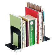 STEELMASTER Economy Steel Bookends, 13cm Backs, 1 Pair, 4.69 x 13cm x 13cm , Black