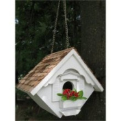 20cm Fully Functional White Cottage Outdoor Garden Birdhouse