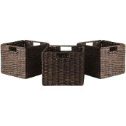 Winsome Trading 38310 Granville Foldable 3-pc Small Corn Husk Baskets Chocolate