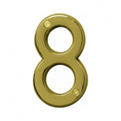 Hy-ko BR-42PB-8 4 in. Polished Brass No. 8 House Number - Pack of 3