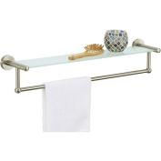 Neu Home 16905 Satin Nickel Glass Shelf with Towel Bar Silver
