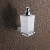 Gedy by Nameeks 3881-13 Chrome Kansas Soap Dispenser with Glass Contai