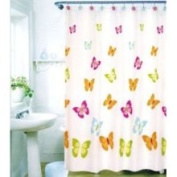 Kennedy Home Collections Shower Curtain with Coloured Butterflies