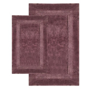 Chesapeake 37652 2 Piece Olympia Bath Rug Set- 21 in. x 34 in. & 24 in. x 40 in.- Chocolate color