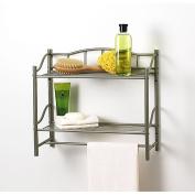 Creative Bath 20063-NI 2 Shelf Wall Organiser with Towel Bar - Nickel