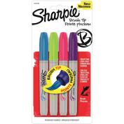 Sharpie 1810702 Permanent Marker Brush Tip 4-Pk