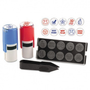 """Stamp-Ever Stamp, Self-Inking with 10 Dies, 5/8"""", Red/Black"""