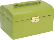 Budd Leather 543674-39 Large Lizard Print Leather Jewelr Box With Handle - Lime Green